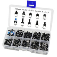 180PCS DIY Smart Micro Momentary Tact Tactile Push Button Switch Assortment Kit