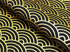 Japanese Fabric_Cotton_Black,Gold,Seigaiha_Half Yard,#m037