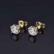 HUCHE Vintage Luxury Yellow Gold Filled Stud Diamond Lady Wedding Party Earrings
