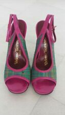 VIVIENNE WESTWOOD LADIES PINK and GREEN TARTAN SHOES-UK 5-USED-SMALL MARK FRONT