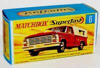 Matchbox Lesney  No 6  Ford Pick up  Repro Empty box  G