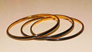 Signed J Crew Gold Tone & Black Enamel Bangle Bracelet Set Lot of 3