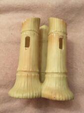 Antique Royal Worcester/Locke&co Blush Ivory 3 Bamboo Vases C1900 England