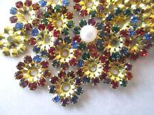 72 Set w/ Swarovski Rhinestones Flower Jackets Components - Color Mix - 11mm