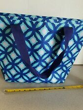 large blue white tote overnight fashion bag new with tags insulated