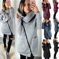 Damen Sweatshirt Hoodie Mantel Sweatjacke Long Kapuzenpullover Zipper Parka Cape