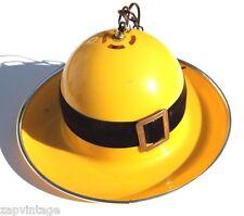 Vtg 1960's Yellow (Arte Plastica) Retro Bowler DERBY Hat Hanging Lamp SPAIN