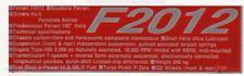 Ferrari F2012 Fernando Alonso Fotograbado placa de datos por acustion