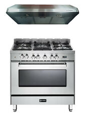 "Verona VEFSGE365NSS 36"" Pro-Style Dual Fuel Gas Range Oven 2 pc Kitchen Package"