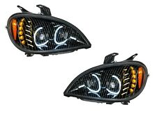 Pair Blackout LED Headlights W/ LED Turn Signal & Halo for Freightliner Columbia