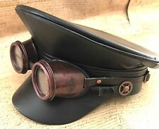 SDL Steampunk Black Military Hat With Copper Goggles In Size 57,58,59 Cm