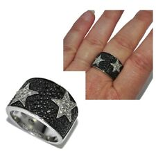 Gross Ring Sterling Silver 925 Zirconium Black White Star T 56 Jewel