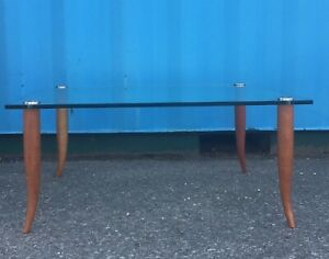 Mathew Hilton Tempered Glass and Cherry Low Square  Coffee Table