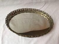 "Vintage 13"" Oval Mirror Vanity Perfume Tray Gold Tone Lace Filigree"