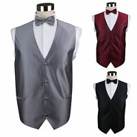 MENS CHECK PATTERN WAISTCOAT & BOW TIE WEDDING BLACK PURPLE RED DARK SILVER VEST