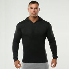 Men Muscle Basic Fit Hoodies Pullover Gym Long Sleeve Athletic Light Sweatshirts