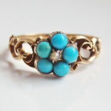 Stunning Antique Georgian 18ct Gold Turquoise & Pearl Forget Me Not Ring c1830