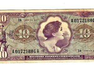 "$10 ""SERIES 651"" (MILITARY PAYMENT CERTIFICATE) $10 ""SERIES 651""  NICE!!! RARE!!"