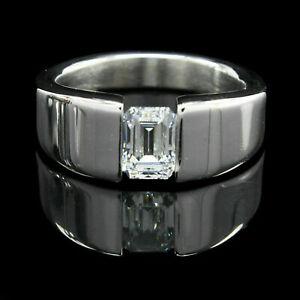 2.15 Ct VVS1 Diamond Men's Engagement & Wedding Tension Set Ring 14k White Gold