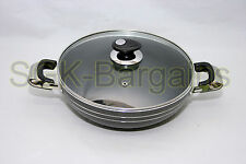 Deluxe 28cm Non-Stick Coated Frying WOK Sauce Fry with Glass Lid Induction Base