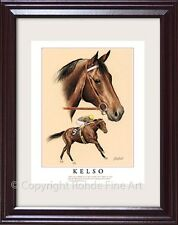 KELSO - FRAMED HORSE RACING ART racehorse equine portrait painting SIGNED