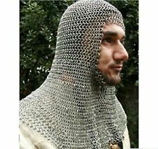 Medieval 16 Gauge Chainmail Coif Butted Ancient Chain Mail