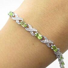 "925 Sterling Silver Real Diamond Green Peridot Gemstone Link Bracelet 6"""