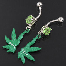 Belly Bar Navel Ring Pot Weed Leaf Dangle BEST BUDS FRIENDS