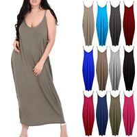 Plus Size Women Ladies Camisole Strappy Lagenlook Italian Drape Baggy Maxi Dress