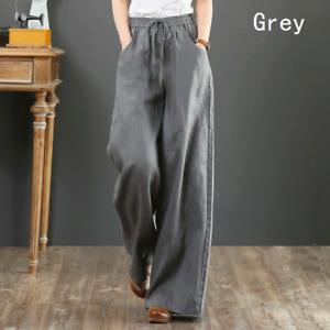 Lady Cotton Linen Wide Leg Trousers Retro High Elastic Waist Loose Casual Pants