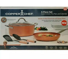 Copper Chef 5 Piece Set Non Stick Finish Dutch Oven, Fry Pan, Utensils -NEW