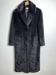 & OTHER STORIES Women's Faux Fur Long Coat Jacket EUR 34   XS   UK 6-8 Dark Choc