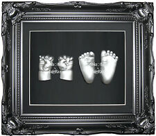 New Large Baby Casting Kit hand foot cast Black Rococo Ornate Frame Silver Paint