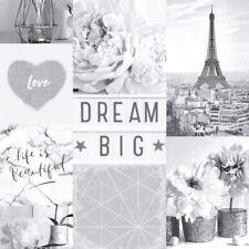DREAM BIG PARIS COLLAGE WALLPAPER MONOCHROME - ARTHOUSE 692100 GLITTER