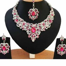 Zerconia Designer Wedding Bridal SIlver Plated AD Necklace Earrings Tikka Set 2-