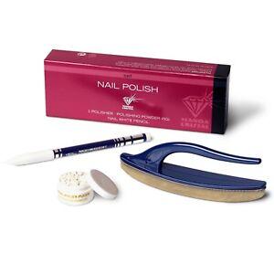 Manoa-Cristal Nail Buffing Kit: Leather Buffer + Powder +Polisher + White Pencil
