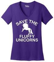 Ladies Save The Fluffy Unicorns V-neck Tee Fat Chubby Horse Shirt