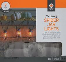 Halloween 7 Flickering Spider Jar Lights Black Wire Indoor/Outdoor NIB
