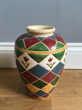 Harlequin Style Floral Vase Ceramic