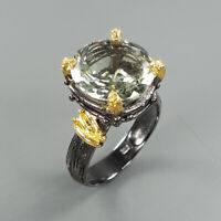 Natural Green Amethyst 925 Sterling Silver Ring Size 7.5/RS18-0039