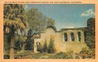 Linen Postcard CA J177 The Bells of San Juan Capistrano Mission Palms Longshaw