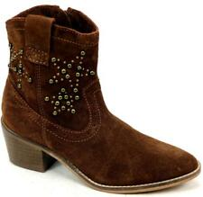 WOMENS SCHUH HOWDY TAN SUEDE WESTERN STUD RIDING BLOCK HEELS ANKLE BOOTS SIZE 4
