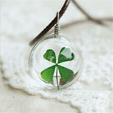 FOUR LEAF CLOVER IRISH ST PATRICKS DAY SHAMROCK GLASS PENDANT NECKLACE KEYRING