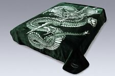 Solaron Korean Super High Quality Thick Mink Dragon Blanket QUEEN SIZE GREEN New