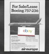 AIR EUROPE SPAIN BOEING 757-236 FOR SALE/LEASE 1984 AD