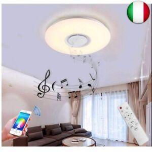 Plafoniera led Dimmerabile 60W con Altoparlante Bluetooth Regolabile Bianco