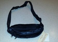 Buxton Three Zip black leather fanny waist pack