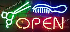 17X14 New Barber Salon Scissor Comb Open Business Pub Store Real Neon Light Sign