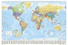 POSTER Mappa del mondo moderno corrente TERRA GLOBO Stampa Wall Art GRANDE MAXI