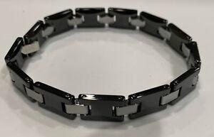 Men's 8.5in Ceramic Tungsten & Stainless Steel Bracelet Stel J5